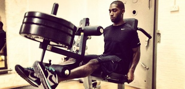 Tinie Tempah worksout at the gym