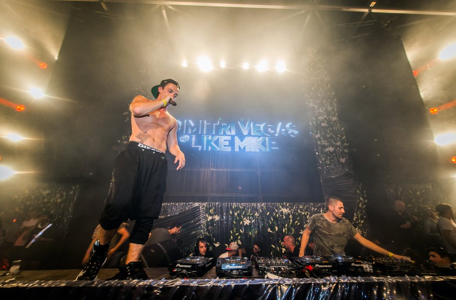 Dimitri Vegas & Like Mike during DJ set