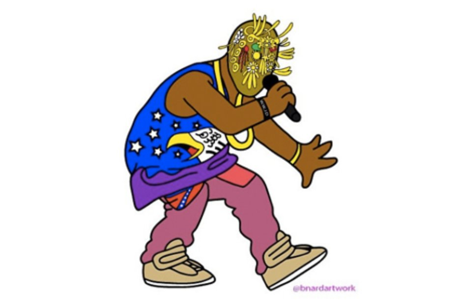 Yeezy Still Looks Fresh In His Mask And Eagle Vest See