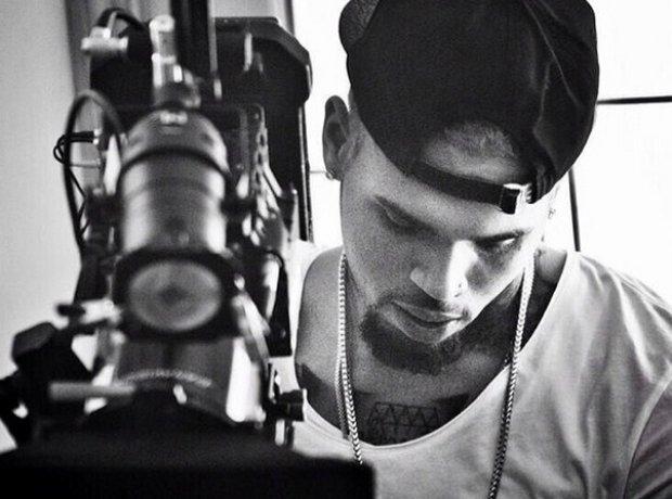 Chris Brown in the recording studio