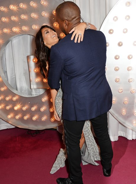Kim Kardashian and Kanye West at the GQ Awards 201