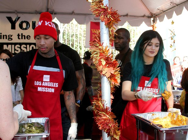 Kylie Jenner and Tyga Feeding Homeless