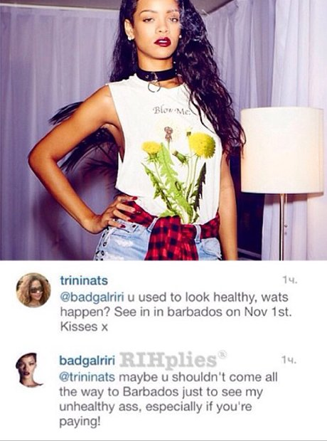 Rihanna throwing shade on instagram