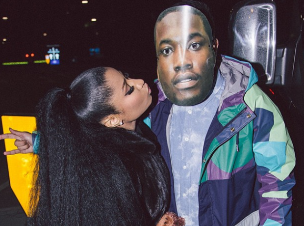 Nicki Minaj with fan in Meek Mill mask