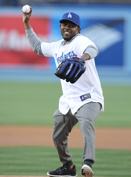Kendrick Lamar playing baseball