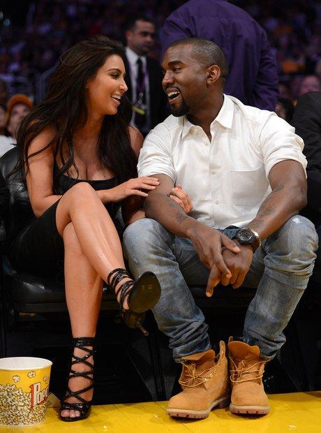 Kanye Smiling Kim Kardashian Lakers