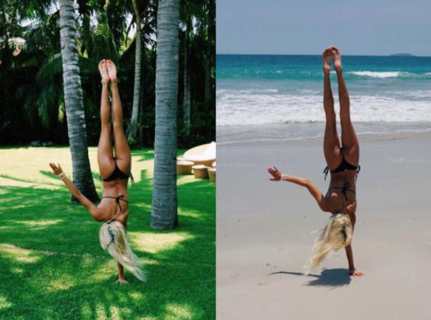 Pia Mia doing a Handstand Holiday