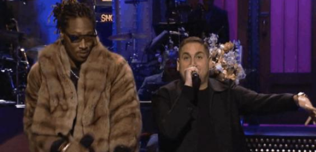 Jonah Hill and Future with microphones