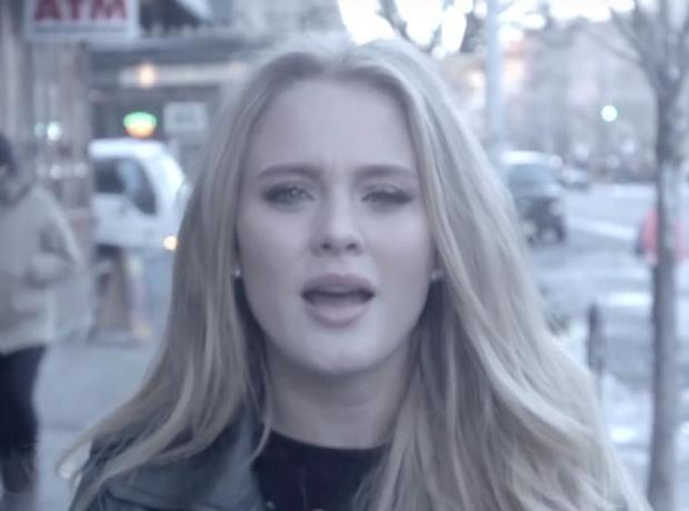 Zara Larsson walking down street