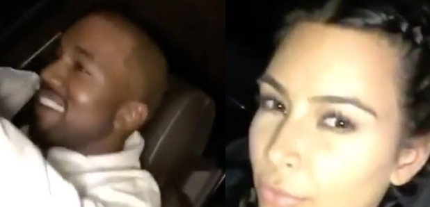 Kanye West and Kim Kardashian in car