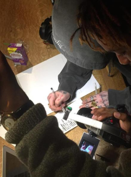 Someone drawing Skepta's album tracklist