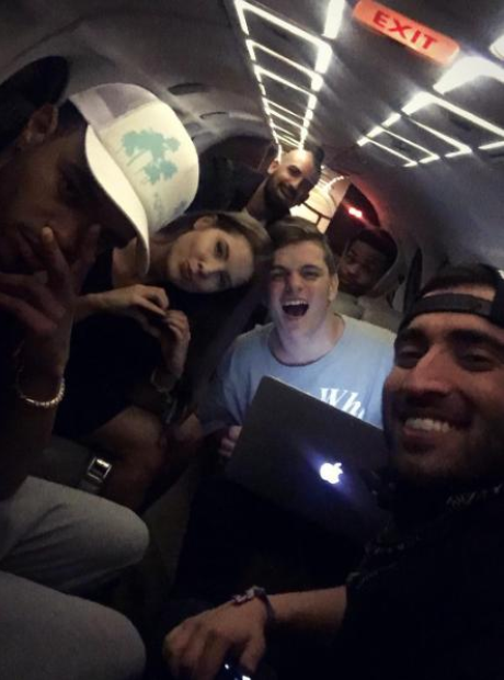 Martin Garrix with friends in private jet