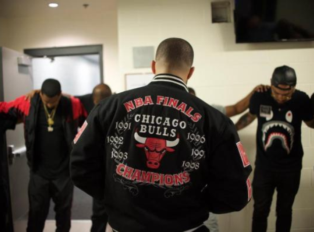 Drake wearing Chicago Bulls jacket