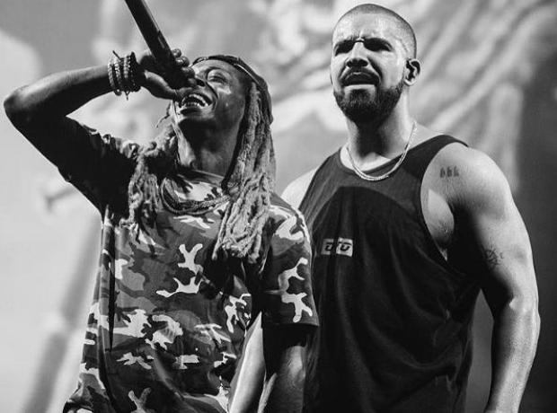 Drake and Lil Wayne on stage