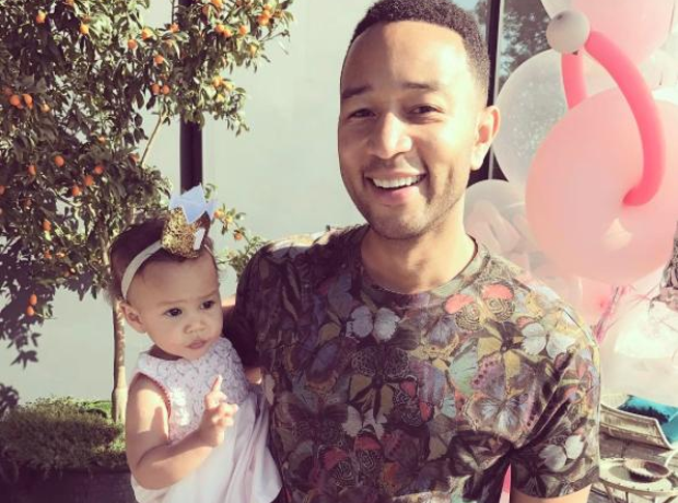 John Legend and his daughter Luna at Easter