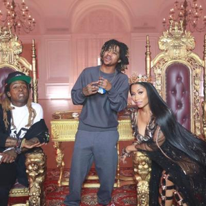 Nicki Minaj and Lil Wayne on the set of 'No Frauds
